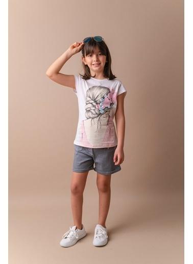 Mininio Beyaz Taşlı Baskılı T-Shirt (5-8yaş) Beyaz Taşlı Baskılı T-Shirt (5-8yaş) Beyaz